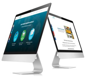 2 Monitors displaying Business Website Design