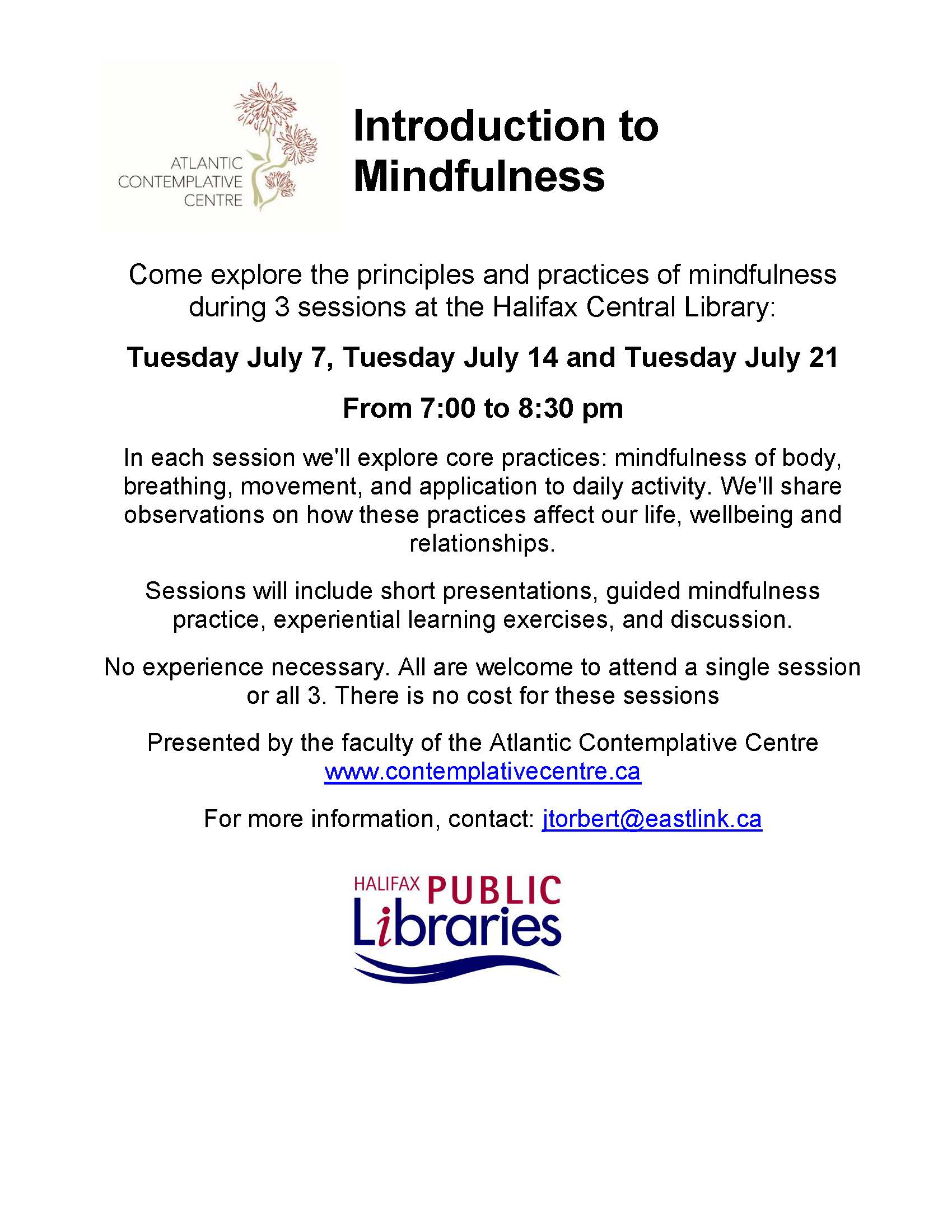 Library July Mindfulness Series Poster