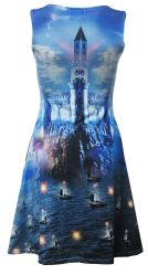 fantasy skater cliffs sleeveless sailing boats castle dress skip beginning