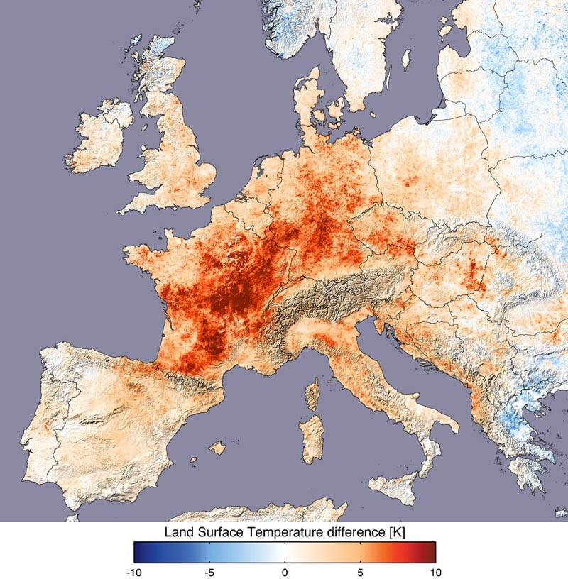 The European Heat Wave Of As Seen From Modis Blue