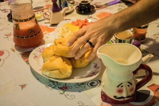 Za zajtrk sva spila tudi po liter svežega soka... ups :)