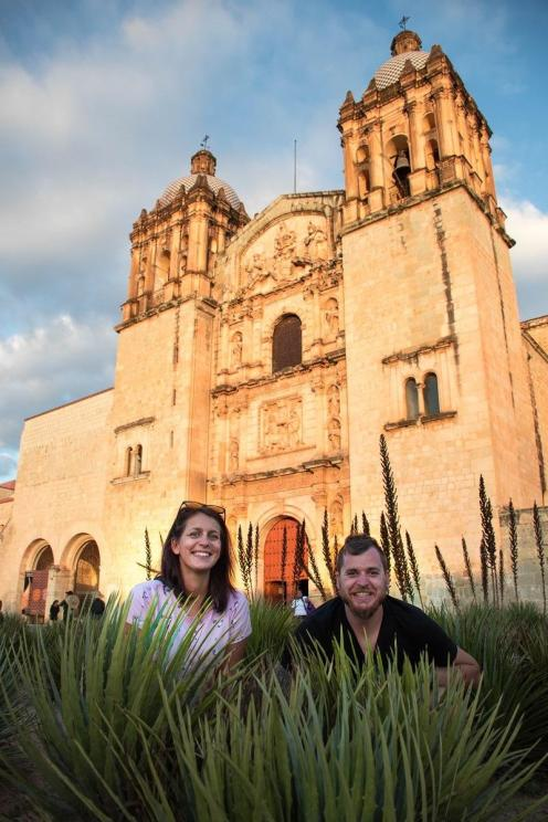 In the middle of agave plants in front of church Santo Domingo in Oaxaca (what to do in Oaxaca?)