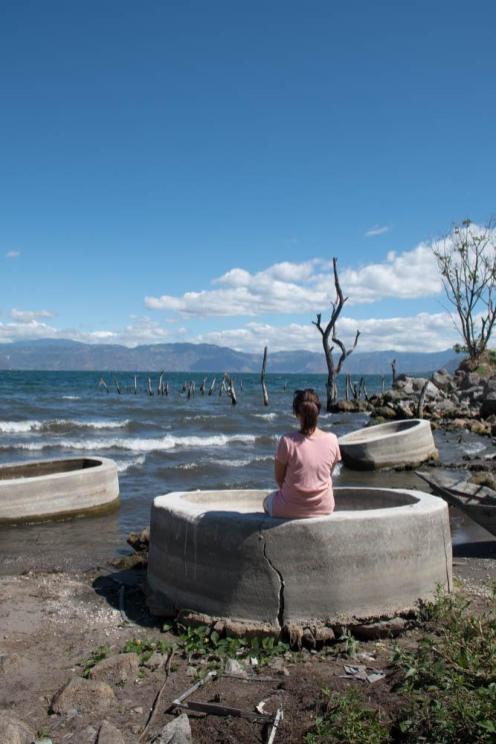 Concrete hot tubs by the lake Atitlan