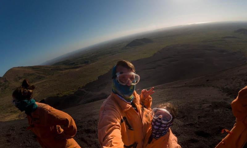 )Us in the cute potato bags :P (Cerro Negro)