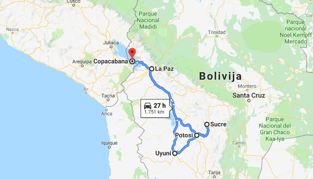 Plan potovanja za Bolivijo zemljevid