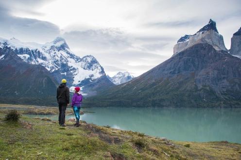 Torres del Paine v ozadju