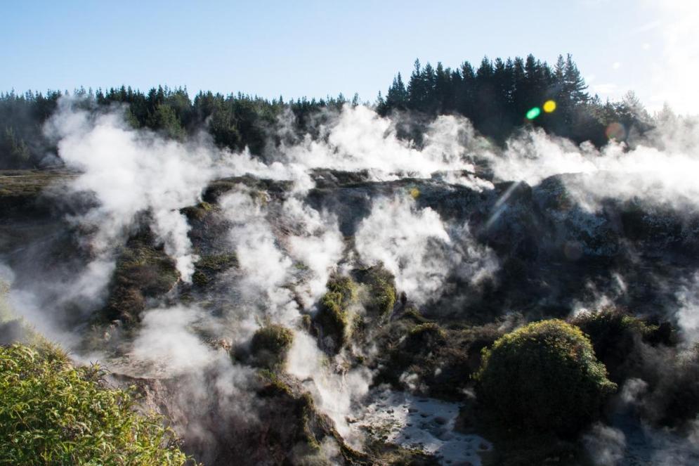 Blatna mlaka, iz katere se dviga para - krater v geotermalnem parku na NZ