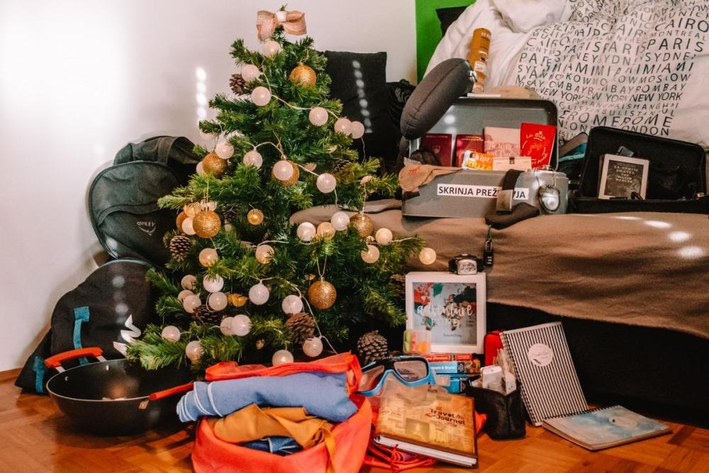 A collection of Christmas gifts for travelers around the Christmas tree