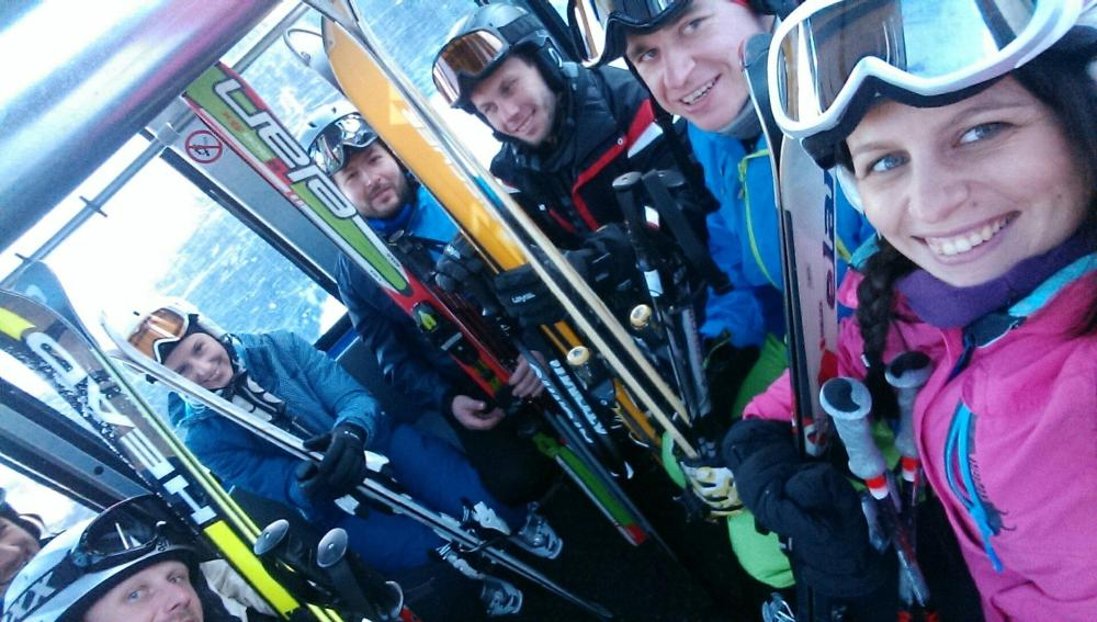 At skiing - our first photo