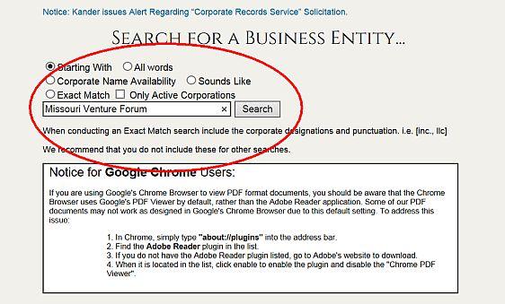 Missouri Business Entity Search
