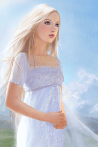 A young blond woman in a white dress stands in a sunlit field