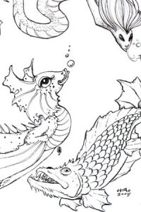 Fanciful sea creatures.