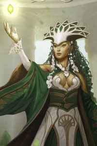 woman in white and white robes and an ornate headdress summons a small glowing object.