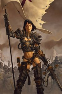 A woman with short black hair and abbreviated armor holds a large tattered pennant.