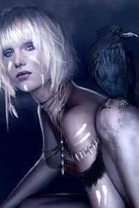 A slender woman with short white hair crouches with a crow on her knee