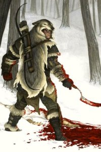 A man in wolf skins holds a bloodied blade in a snowy forest.