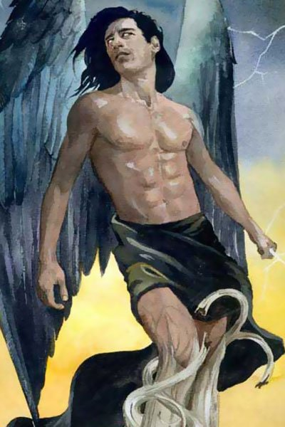 A dark-haired man with large black wings is trapped.