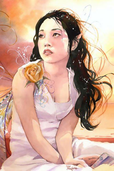 A raven-haired fairy wearing a white dress and golden flower gazes up and away.