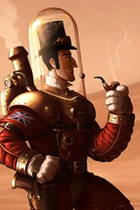 A well-dressed gentleman in a steampunk spacesuit gazes at a martian mountain.
