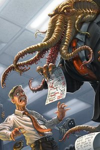 A hapless man is berated by a well dressed tentacled horror in the office.