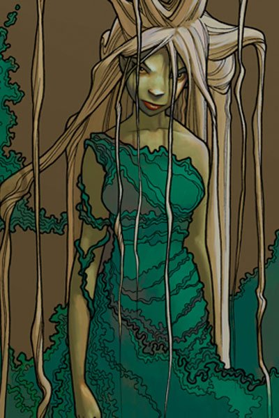 A woman with long pale hair and a green billowy dress stands ominously.