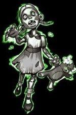 A zombie girl with a mangled teddy bear lurches forward.