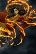 An Asian woman floats in the air, surrounded by thin streaks of fire.