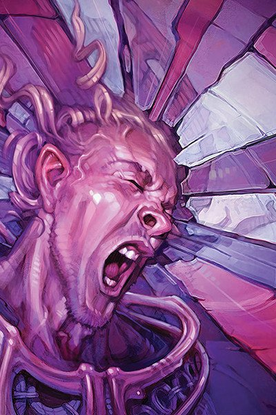 A man screams in agony as the background shatters around him.