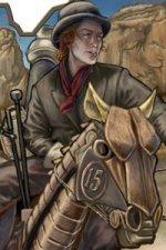 A young man riding a mechanical horse.