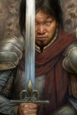 A man in plate armor determinedly raises his sword.