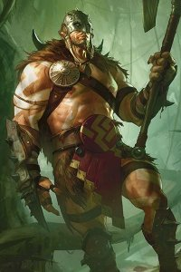 A muscular man stands with a large axe.
