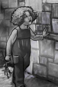 A young girl runs her hand along an stone wall.
