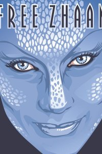 A lovely blue woman's face with white white markings, aka Zhaan.