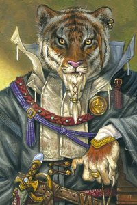 A regal tiger stands in noble clothing and wearing an ornate sword.