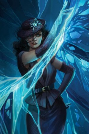 A woman in formal clothes waves an arm, trailing glowing blue webbing.