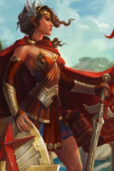 Wonder Woman stands with sword and shield, large red cape billowing behind her.