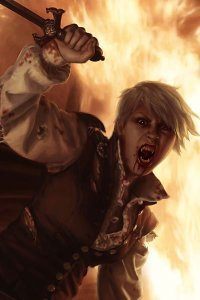 An enraged vampire -- surrounded by fire -- bares their fangs and raises their blade