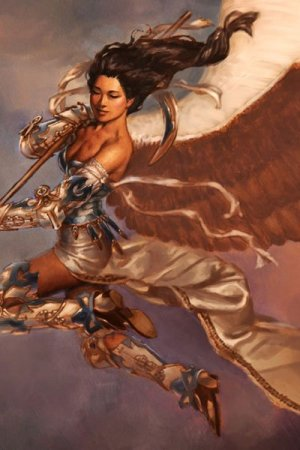 A winged woman with long dark hair soars through the sky.