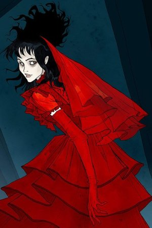 A young woman with black hair, sunken eyes and an elegant red wedding dress looks over her shoulder.
