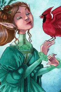 A mannered elf in a green dress holds and admires a bright red cardinal.
