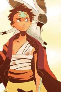 Aang from the Last Airbender and his flying lemur bat Momo.