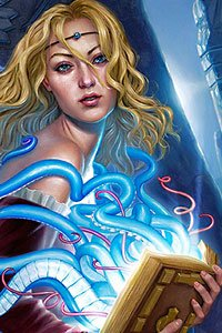 A blond woman holds a magical tome from which long blue tentacles emerge.