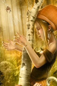 A slender blond woman plays a spiders web like a harp in a golden forest.
