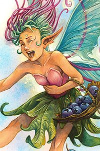 A mirthful fairy with fluorescent wings laughs while clutching her belly.