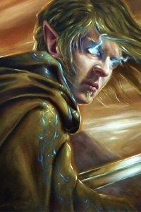 An elfin man with glowing blue eyes and a runed cloak skulks away.
