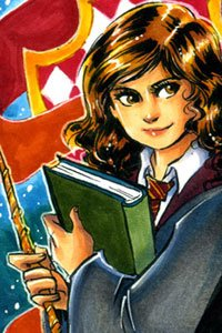 Hermione Granger, a young spellcaster holding a large book and a magic wand.