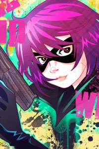 A masked girl with magenta hair brandishing a large pistol, a.k.a. Hit Girl.