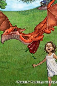 A small girl chases a flying red dragon.