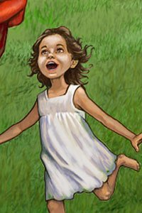 A little girl in a white dress running like crazy.