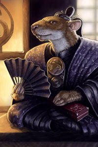 A rodent-headed Rokugan nobleman sits with his paper fan unfurled.